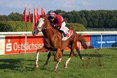 Burschentanz mit Andre Best gewinnt am 27.09.2014 in Dresden. www.galoppfoto.de - Sabine Brose