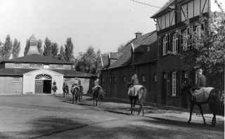 Auf dem Weg in den Trainingsstall, der 1926 erbaut wurde