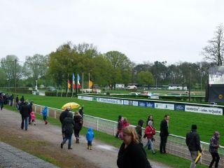 Blick auf die Mannheimer Zielgerade. Immerhin kommen die Pferde aufgrund der Kürze der Bahn öfter vorbei. Foto: Karina Strübbe